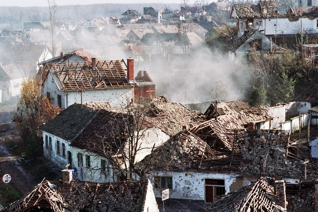 The city of Vukovar in 1991 during the Serbian agression on Croatia