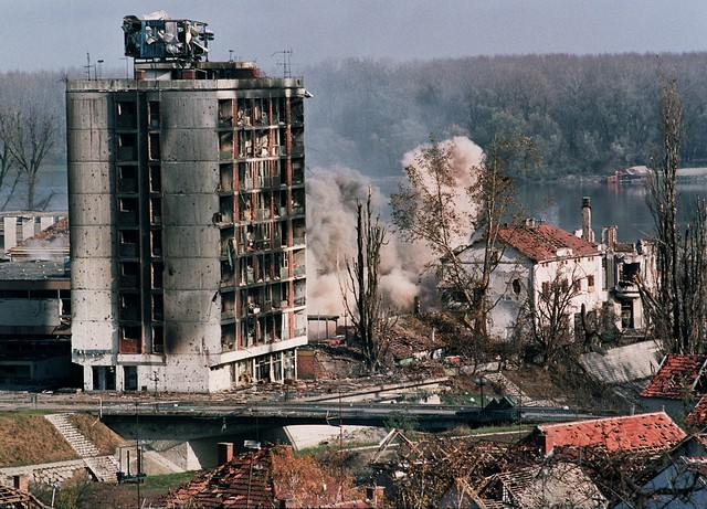 The City of Vukovar bombed during the Serbian agression in 1991.